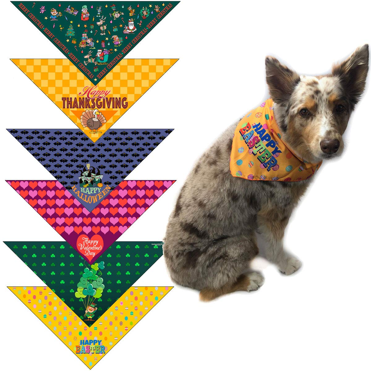 Stonehouse Collection Holiday Dog Bandana Med to Large Dogs - Set of 6 - Christmas, Halloween, Thanksgiving, Valentine's Day, St. Patricks Day, Easter - #2 (Med-Large)