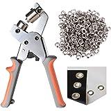 LACUISINE Grommet Tool Kit Handheld Hole Punch Pliers Portable Grommet Hand Press Machine Manual Puncher w/ 500pcs Silver Gro