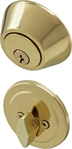 Honeywell 8111009 Single Cylinder Deadbolt, Polished Brass
