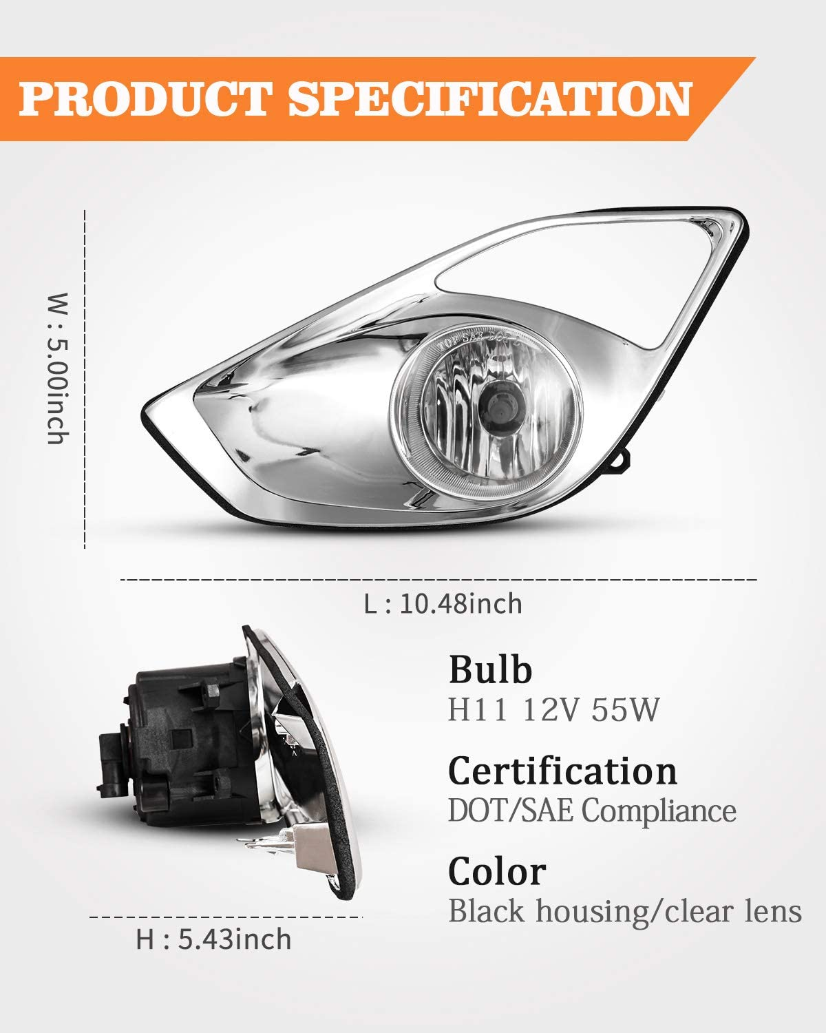 AUTOWIKI Fog Light Assembly for 2013-2015 Toyota Avalon With Clear Lens 2PCS OEM Replacement Driving Fog Lamps with Switch and Wiring Kit