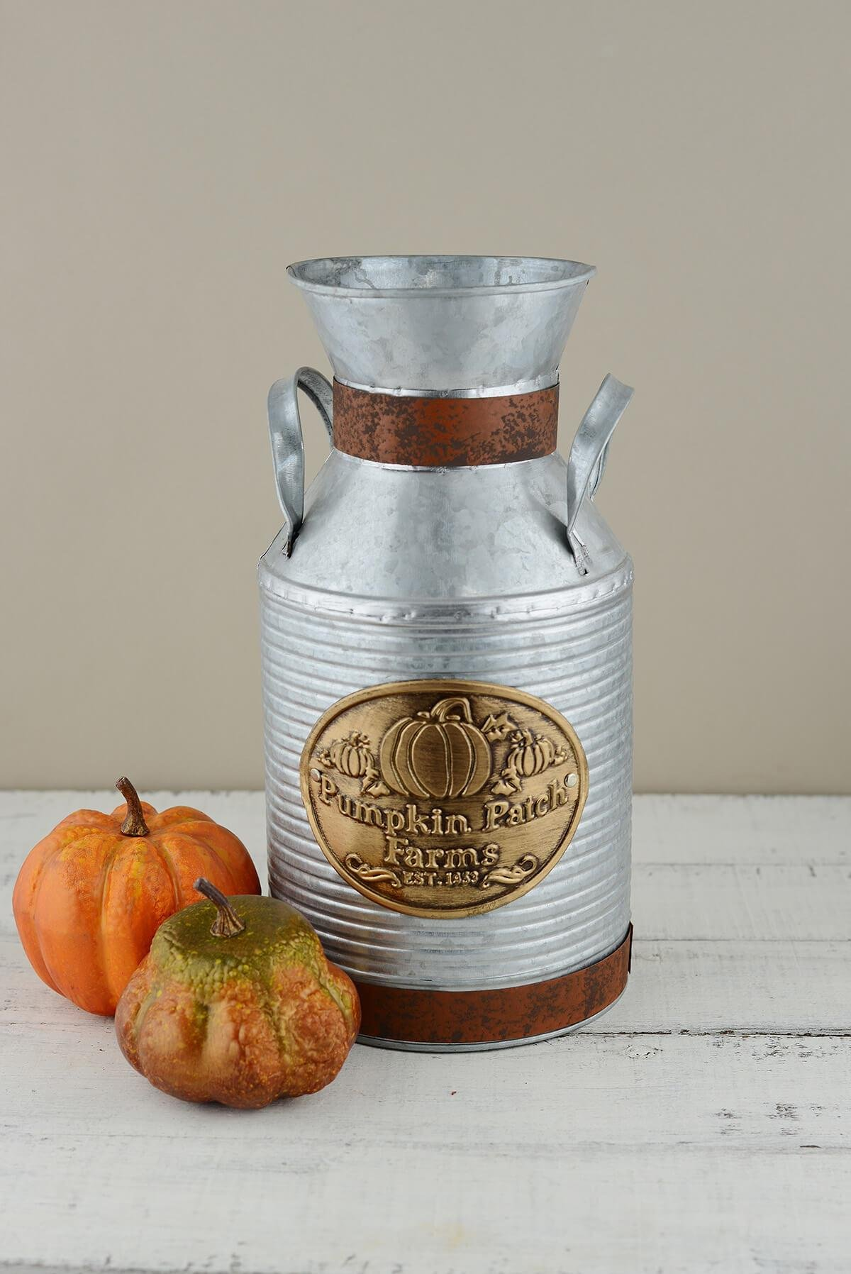 Richland 12'' Metal Milk Can Pumpkin Patch Farms Set of 16 by Richland