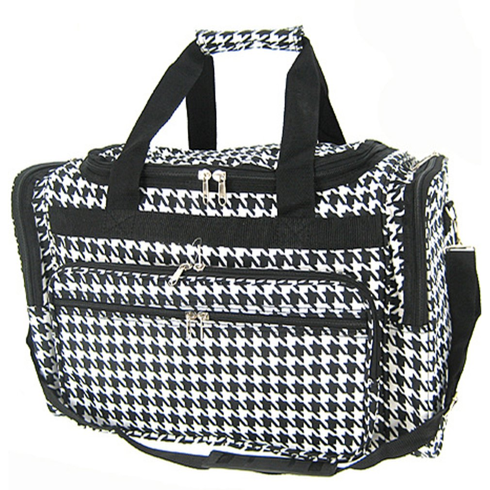 Black Houndstooth Duffle Bag 16-inch