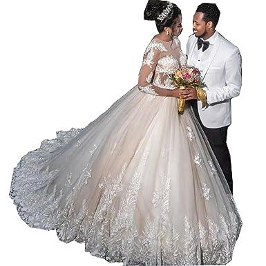 Molixin Women\'s Simply Beautiful Long Sleeves Wedding Dress Ball ...