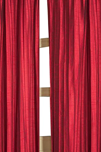 Vertical pintuck solid toned faux silk lined rod pocket curtain panel Red