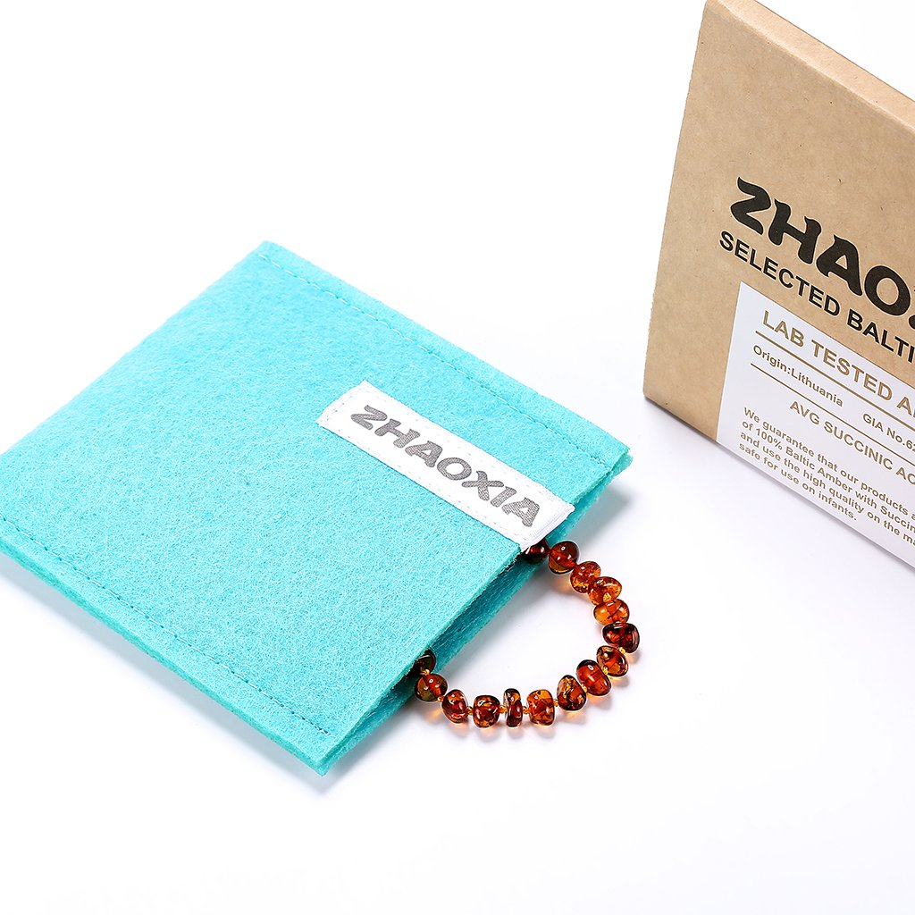 Baltic Amber Teething Bracelet for Baby (Cognac)(5.5 Inches)
