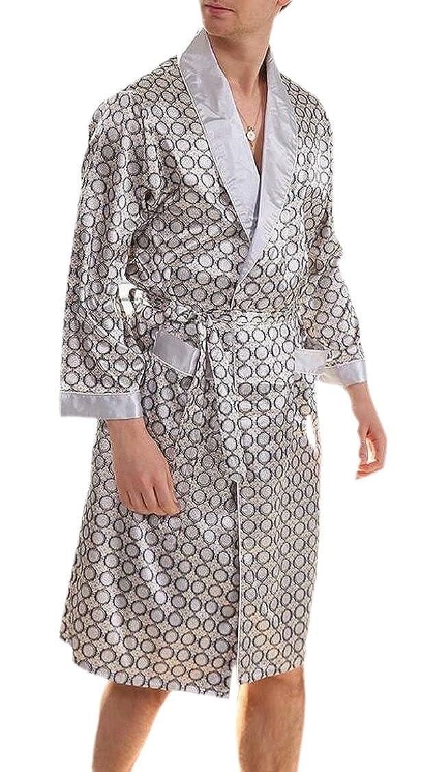 Jaycargogo Mens Gown Bathrobe Satin Kimono Bath Robe Housecoat Nightwear Pyjamas
