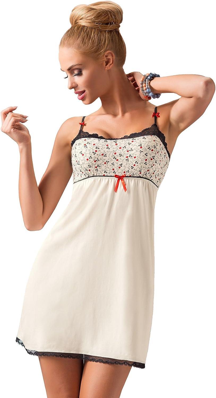 Donna - Camisón elegante para mujer, de viscosa, con detalle en escote y remates de encaje, en caja de regalo