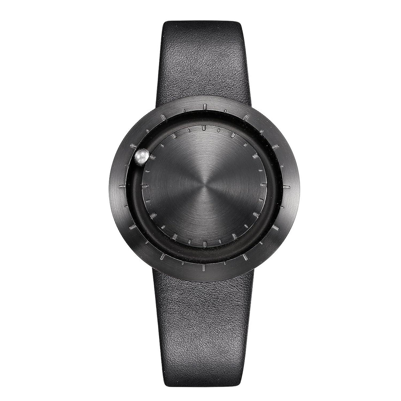 LAVARO unisex luxusuhren modeuhren quarz armbanduhr damen edelstahl Zifferblatt herrenarmbanduhr lederarmband schwarz