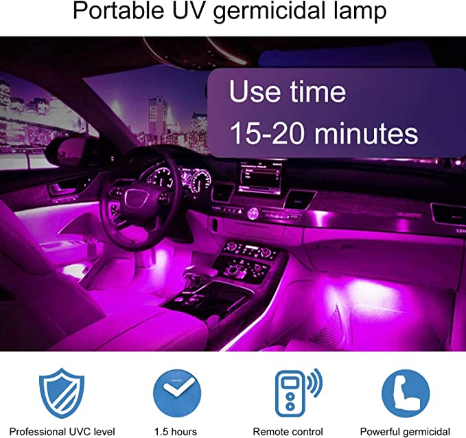 LED Bulb UV-C Light with Remote Control Portable LED lamp Suitable for Car Home Restaurant School Office( 1.5 Hours of use on one Charge )
