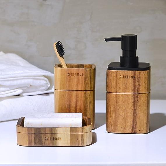 SATU BROWN - Juego de 3 accesorios para baño d642fdbc5f3c