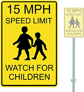 """product image for 15 MPH WATCH FOR CHILDREN HEAVY DUTY ALUMINUM WARNING SIGN 10"""" x 15"""""""