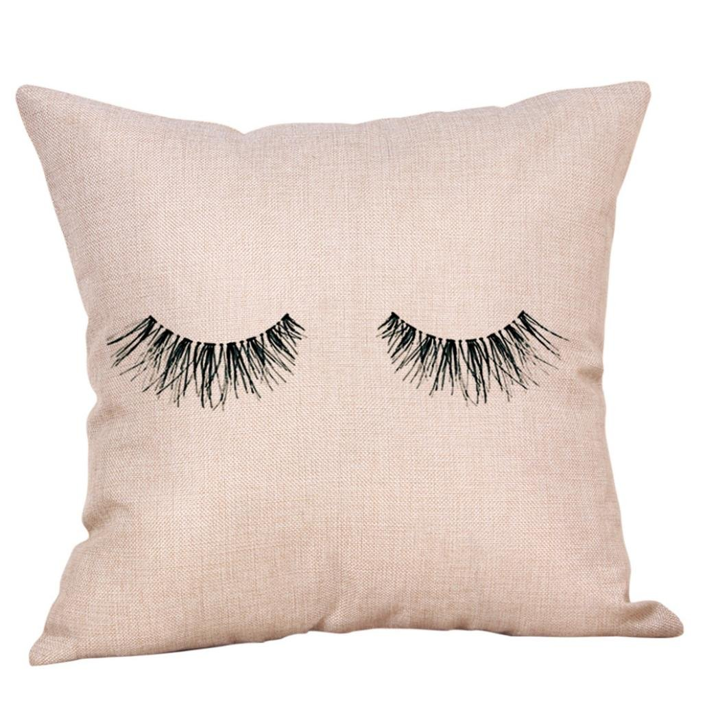 Clearance/Bestoppen Pillow Case,45 * 45 Flax Waist Square Throw Cushion Covers for Living Room Home Decorations Sofa Bed Decor Cute Chair Covers Lovely Creative Eyelash Print Pillowcases Gift AA11