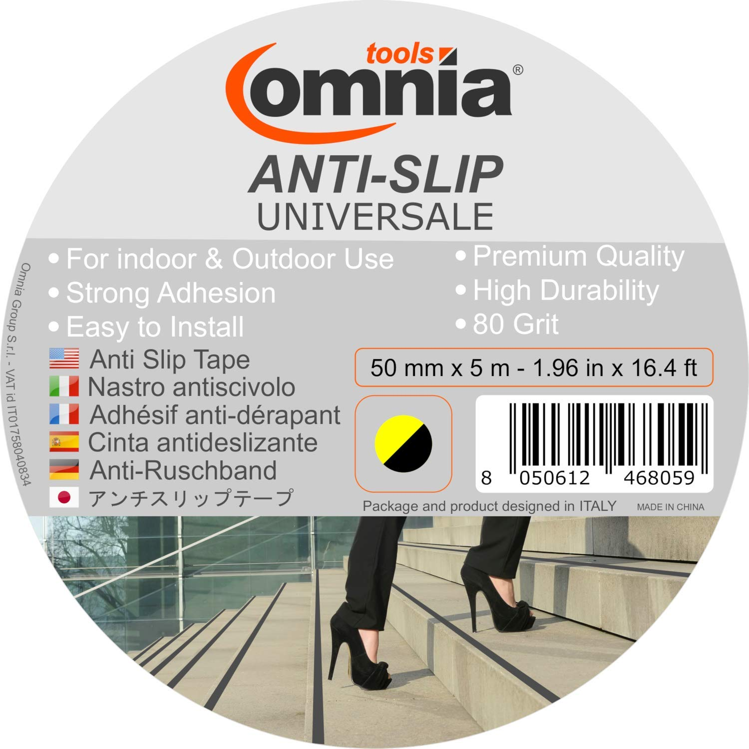 80 Grit White 29.5 mil 1.96 In x 16.4 Ft Self Adhesive Non Slip Safety Tape for Indoor /& Outdoor OMNIA TOOLS Universale Anti Slip Grip Tape