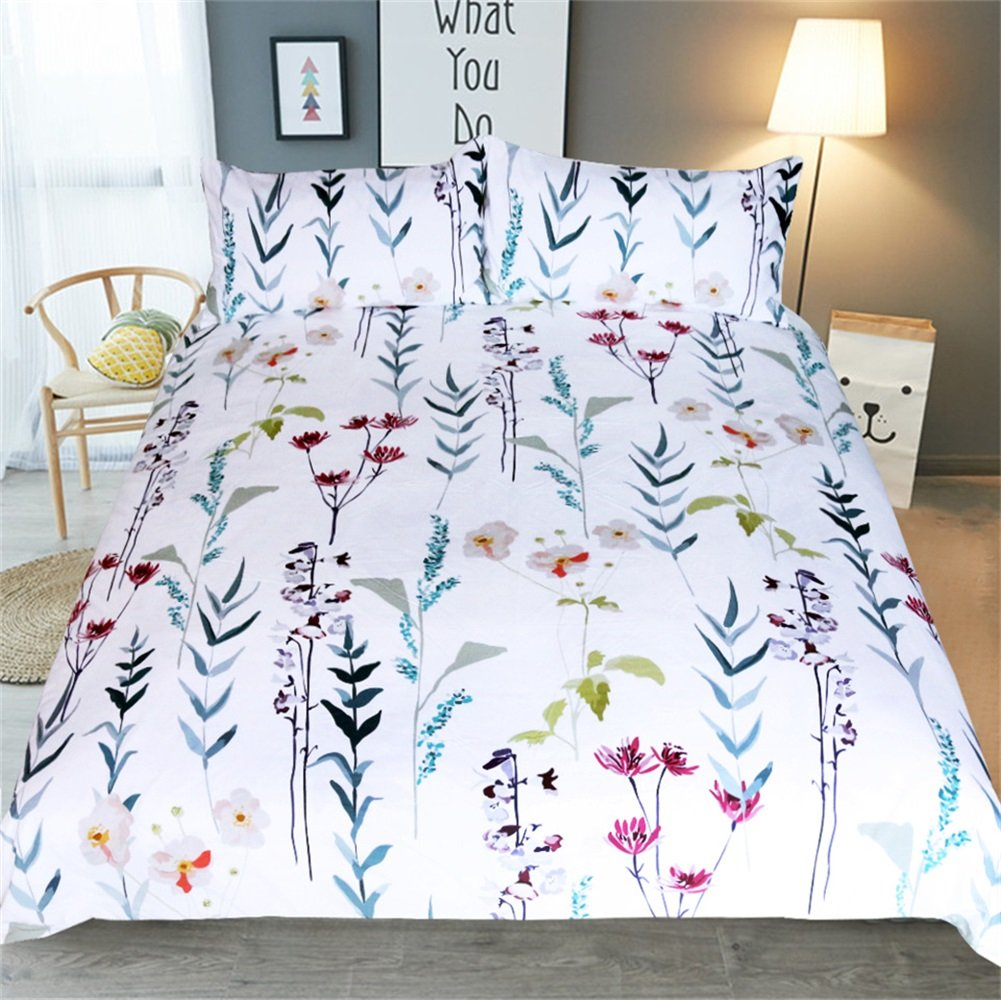 YaYi Duvet Cover Set with Zipper Closure Hotel Quality Silky Soft 100% Microfiber Comforter Quilt Bed Cover with Pillowcases Colorful Floral Printed Duvet Cover Twin Size