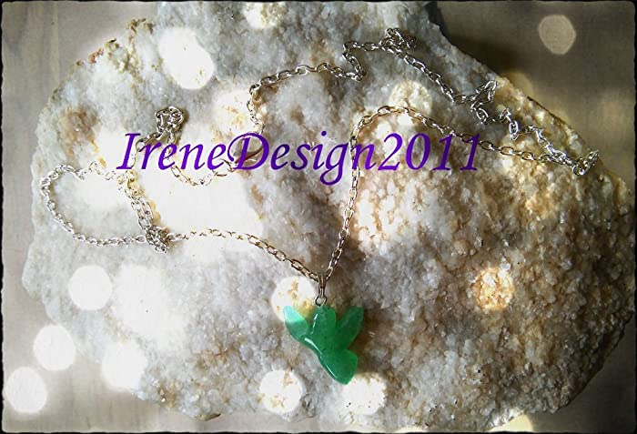 Silver Necklace with Aventurine Guardian Angel
