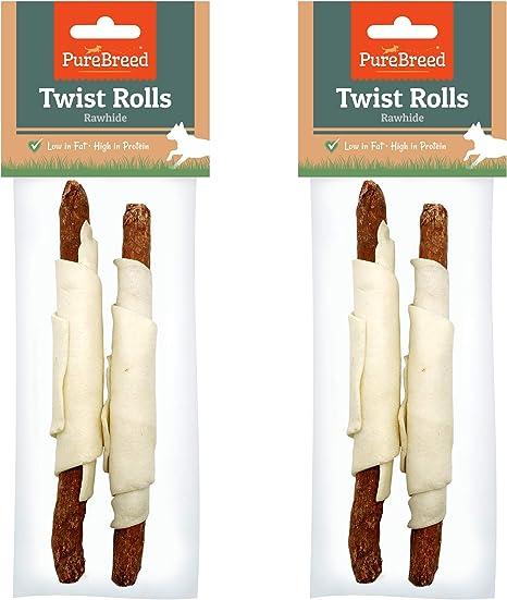 Pure Breed Rollos masticables de Crudo para Perros sin tóxicos (masticables de Piel cruda Baja en Grasa y Alta en proteínas) Pack de 4 (1.5x18.5 ...