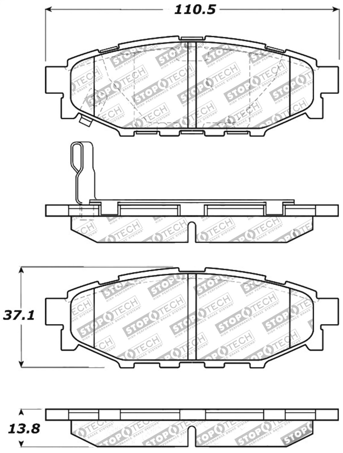 Stoptech 30911140 Street Performance Rear Brake Pad Laguna Replacement Parts Motor Repalcement And Diagram Automotive