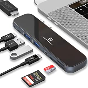 USB C Hub - Type C MacBook Pro Adapter, 7 in 1 Docking Station with HDMI, Power Delivery, Thunderbolt 3, SD TF Card Reader, 2 USB 3.0 - USBC to HDMI MacBook Multiport Accessorices