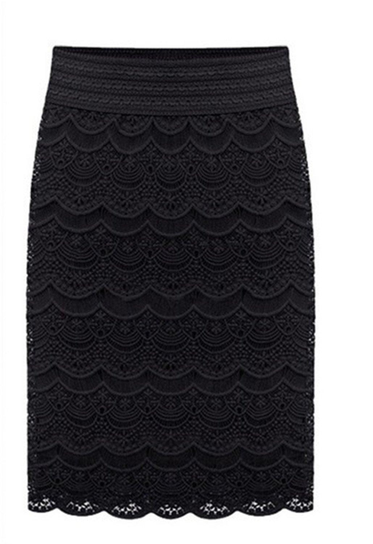 AUUOCC skirts 5XL XXL Women Lace High Waist Skirts Praia Bottoms Grunge Skort Black 5XL