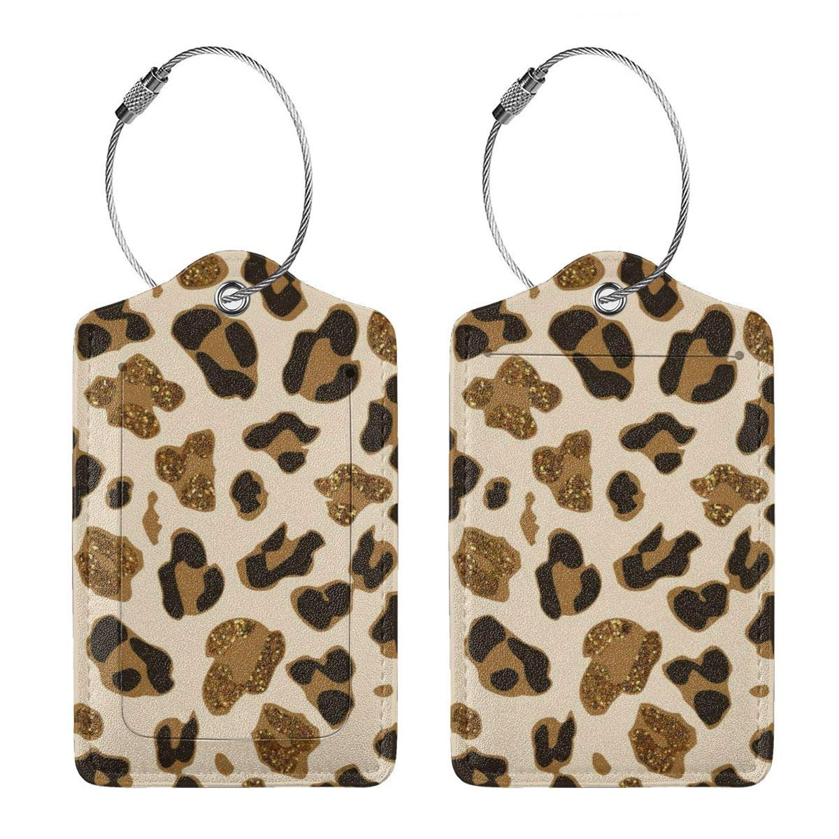 Leopard Leather Luggage Tags Personalized Address Card With Privacy Flap