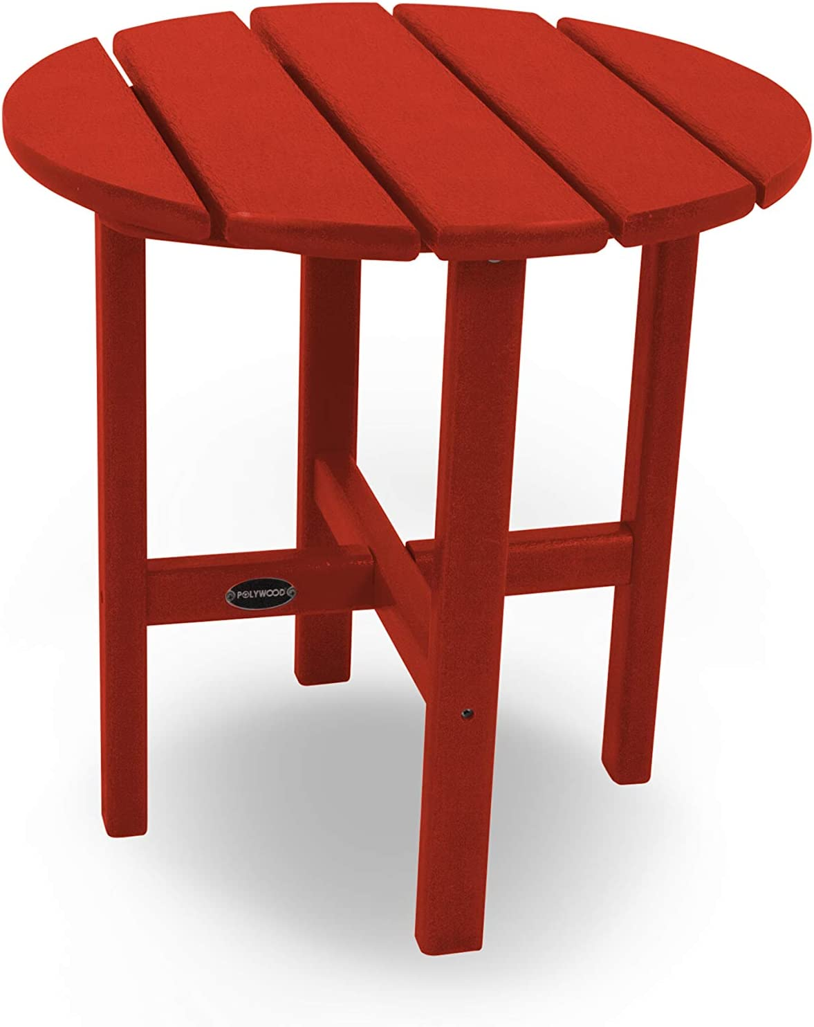"""POLYWOOD Round 18"""" Side Table in Crimson Red"""