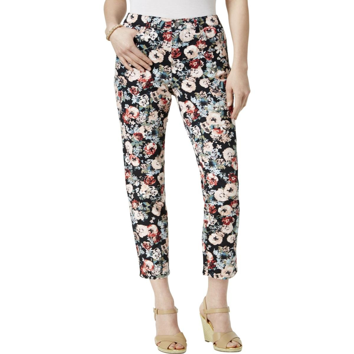 Charter Club Womens Bristol Floral Print Tummy Slimming Ankle Jeans Black 6
