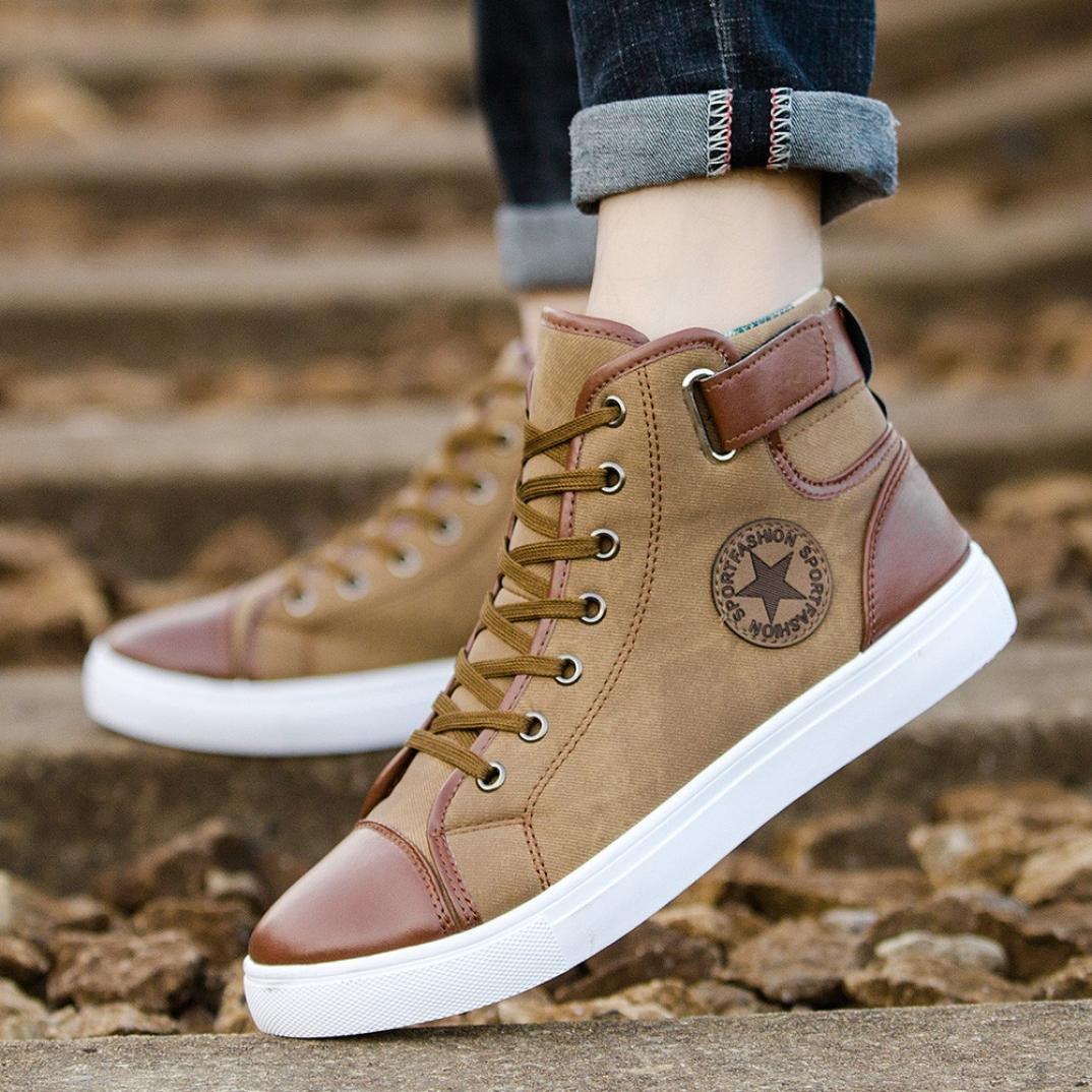 Zapatos Hombre,Hombres zapatos causales de encaje-hasta botines zapatos casuales altos zapatos de lona superior LMMVP EU Azul, 45