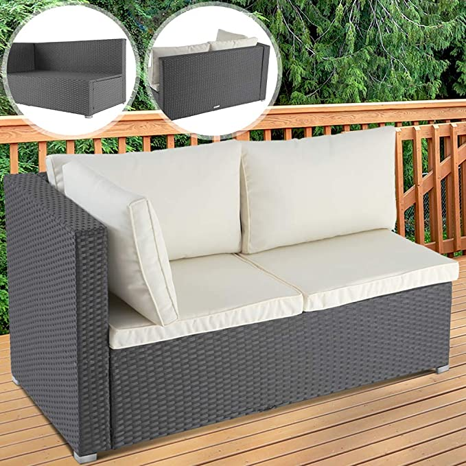 Grey Miadomodo Polyrattan Lounge Sofa 2-Seater Outdoor Garden Patio Wicker Rattan Furniture