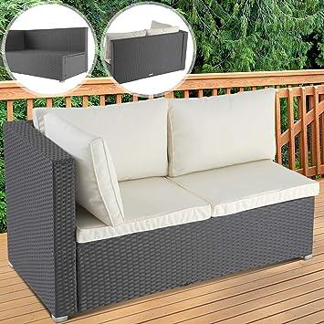 Sofá de esquina de poliratán | 130x70x63 cm, para dos personas, con Cojines, Color Gris | Asiento de poliratán, Sofá esquinero, Muebles de Jardín ...