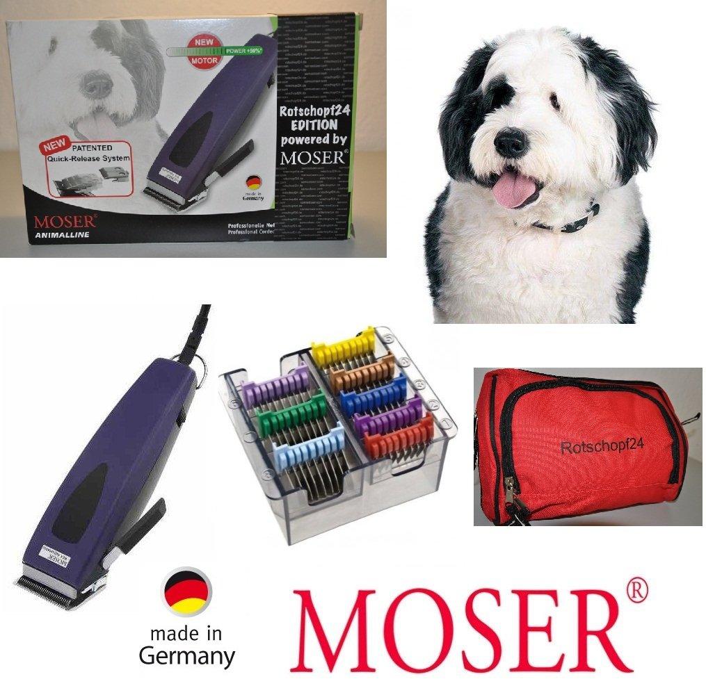Top Rotschopf24 Edition.: Exclusive Moser Hundeschermaschine REX1233 + 8 Metall-Aufsätze. Empfehlenswert bei langen + krausem Fell.