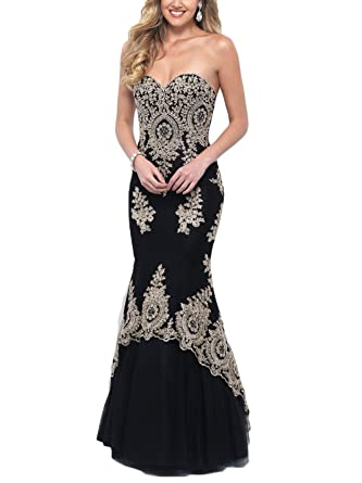 2cbfed993ab8 Mathena Women's Crystals Gold Lace Appliques Sweetheart Long Mermaid Prom  Dress US 2 Black