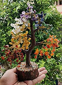 FASHIONZAADI Seven Chakra Gemstone Tree Healing Crystal Money Trees Feng Shui Gift Handmade Reiki Crystals & Stone Home Office Table Décor Good Luck Throat Chakras Size 10-12 Inch (Golden Wire)