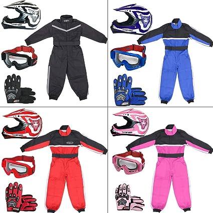 Leopard LEO-X17 Rojo Casco de Motocross para Niños (S 49-50cm) + Gafas + Guantes (S 5cm) + Traje de Motocross para Niños - XS (3-4 Años)