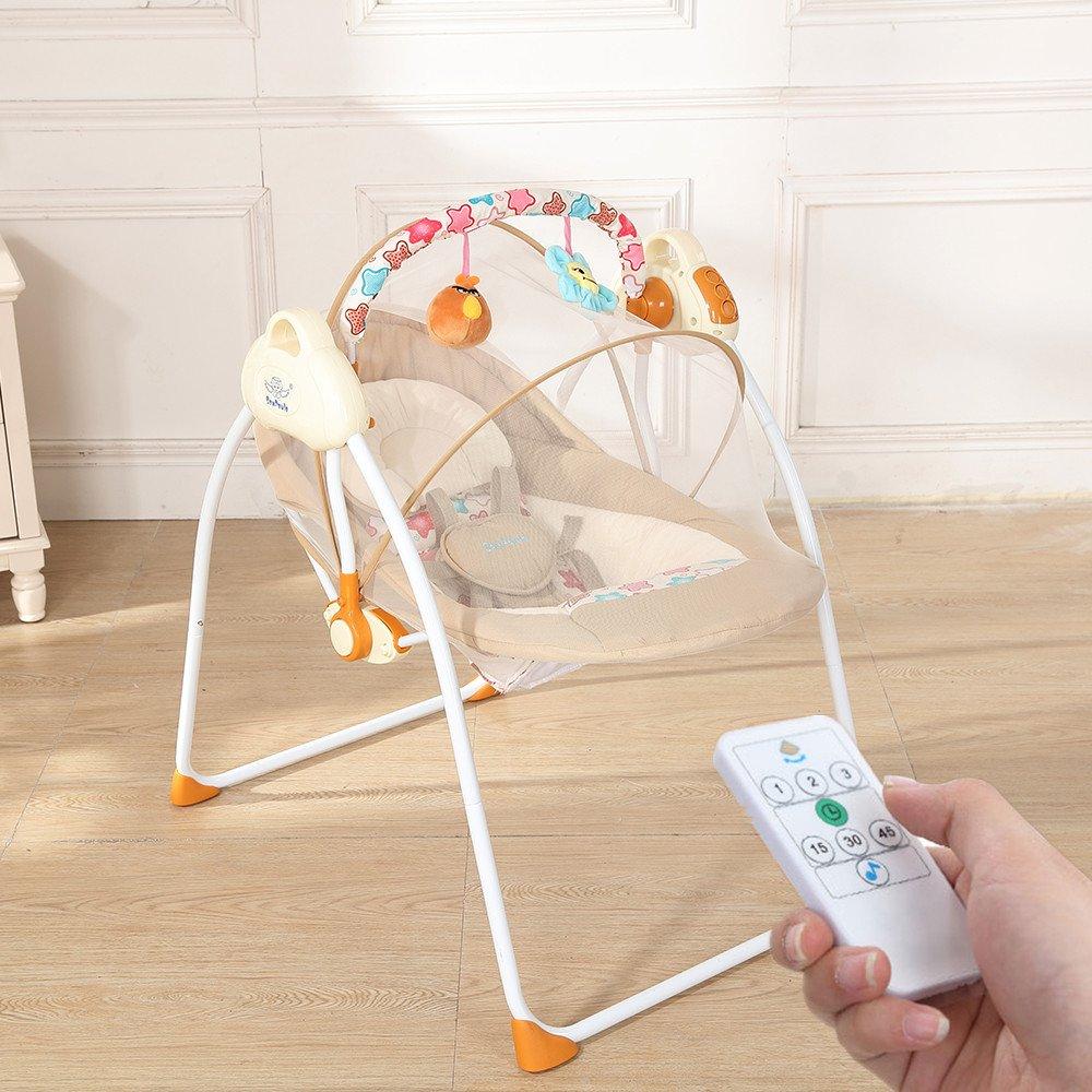 Decdeal Elektrische Babyschaukel Automatische Baby Wiege fü r 0-12 Monate Baby, mit Handy Verbinden,12 Melodien, 3 Schaukelgeschwindigkeiten, MP3-Player via USB