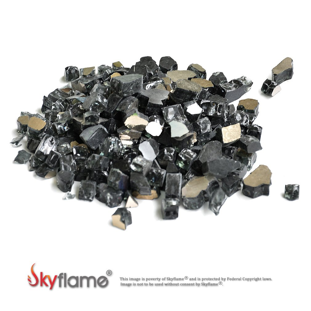 Skyflame 10-Pound Fire Glass for Fireplace Fire Pit and Landscaping, Onyx Black Reflective, 1/2-Inch