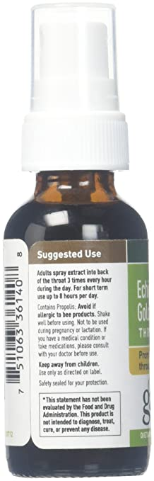 Gaia Herbs Echinacea Goldenseal Propolis Throat Spray, 1 Ounce (Pack of 2)  - Supports Healthy