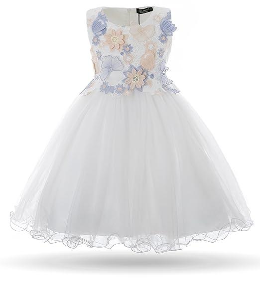 e67a37cf6561 Cielarko Vestito Bambina Principessa Fiore Farfalla Cerimonia Abiti 2-11  Anni