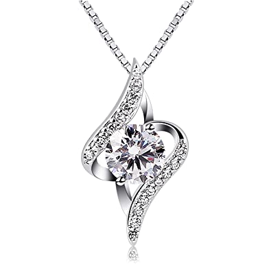 Btcher women necklace 925 sterling silver necklace cubic zirconia btcher women necklace 925 sterling silver necklace cubic zirconia pendant 18quot aloadofball Gallery