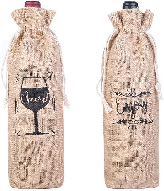 "Jute Bottle Bag /""Cheers/"" Hessian"