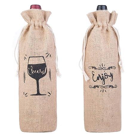 Amazon.com: Bolsa de vino de arpillera con cordón, 100 ...