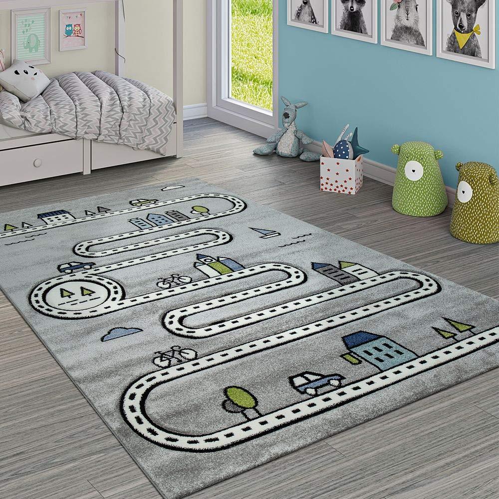 Paco Home Kinderteppich Kinderzimmer Modern Lernteppich Straße Auto Haus Design In Grau, Grösse:160x230 cm