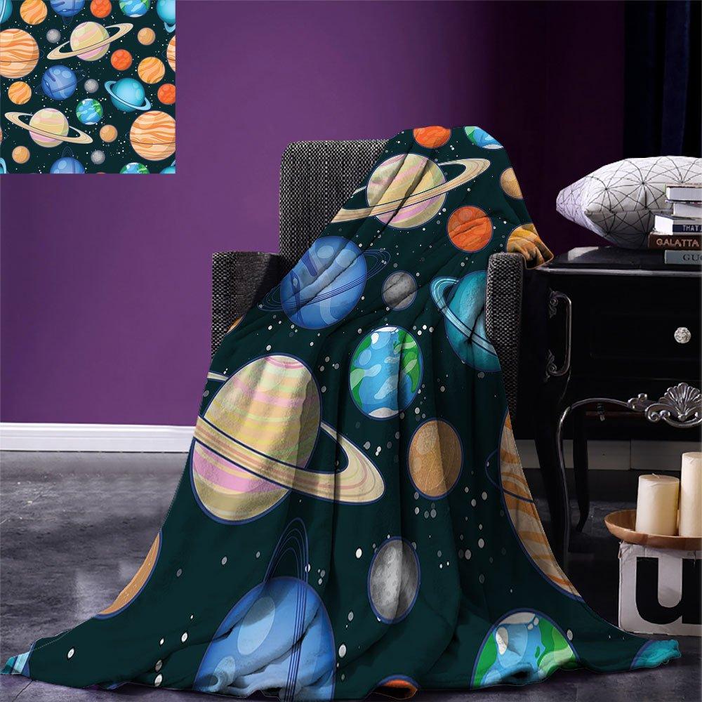 smallbeefly Galaxy Custom printed Throw Blanket Cute Galaxy Space Art Solar System Planets Mars Mercury Uranus Jupiter Venus Kids Print Velvet Plush Throw Blanket Multi