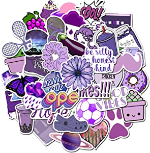Cute Girl Purple Laptop Stickers 50pcs, Lovely Trendy Kids/Teen Vinyl Computer Waterproof Water Bottles Skateboard Luggage Decal Graffiti Patches Decal (Purple)