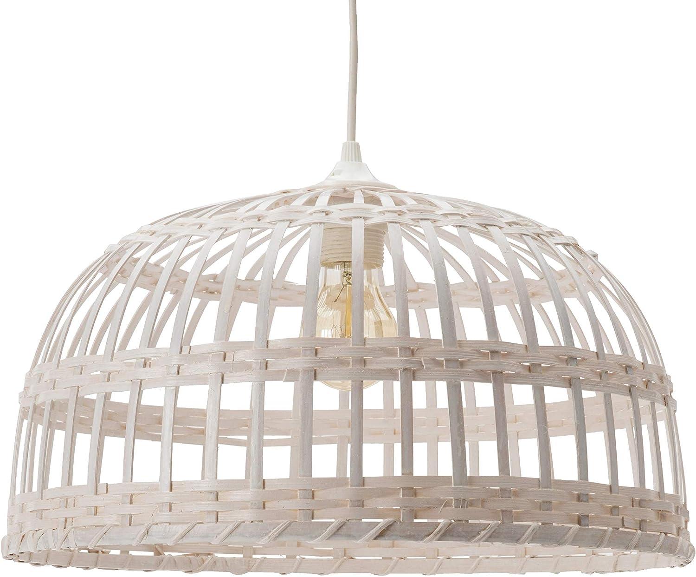 Phuket 40 - Lámpara colgante de bambú, 60 W, blanco, diámetro 40 x altura 22 cm