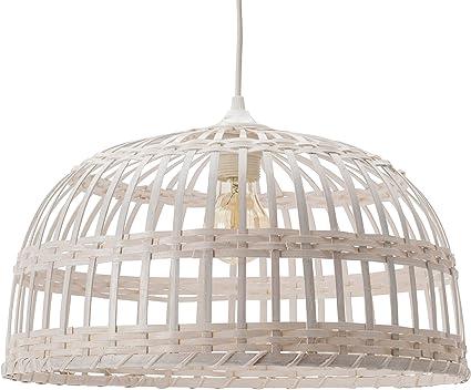 Phuket 40 - Lámpara colgante de bambú, 60 W, blanco, diámetro 40 x ...