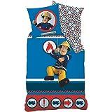 CTI La parure de lit en fine flanelle Sam le pompier 80x80 / 135x200 cm, bleu
