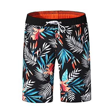 814f6fda0c QRANSS Mens Printed Swim Trunks Short Quickly Drying (Black Floral,  Small/30-