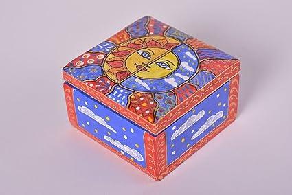 Caja joyero hecho a mano caja de madera pintada sol luna decoración casa