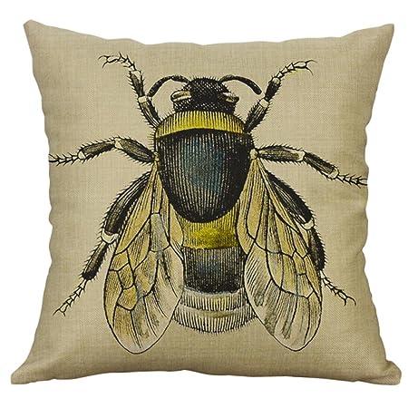 Deloito Vintage Bee on Yellow Dots Cotton Linen Home Decor Throw Sofa Car Cushion Cover Pillow Case 45cm x 45cm by A Home & Garden Store