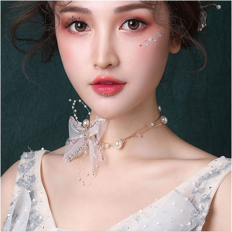 LTCTL Collar Collar de Arco de Tul, Collar de Accesorios de clavícula de Boda, Regalo de cumpleaños/Regalo del día de la Madre/día de San Valentín Regalo Collar (Color : Style A)